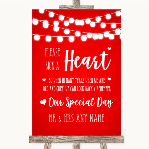Wedding Sign Poster Print Red Watercolour Lights Sign a Heart