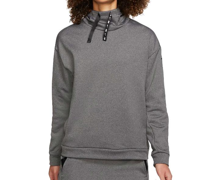 Nike One Therma Fleece Hoodie Womens Large Authentic Black Heather Fleece Loose