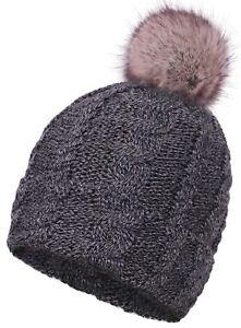 b33dee6fc3c Lady Women Warm Winter Knit Thick Fleece Lined Fur Pom Beanie Skull ...