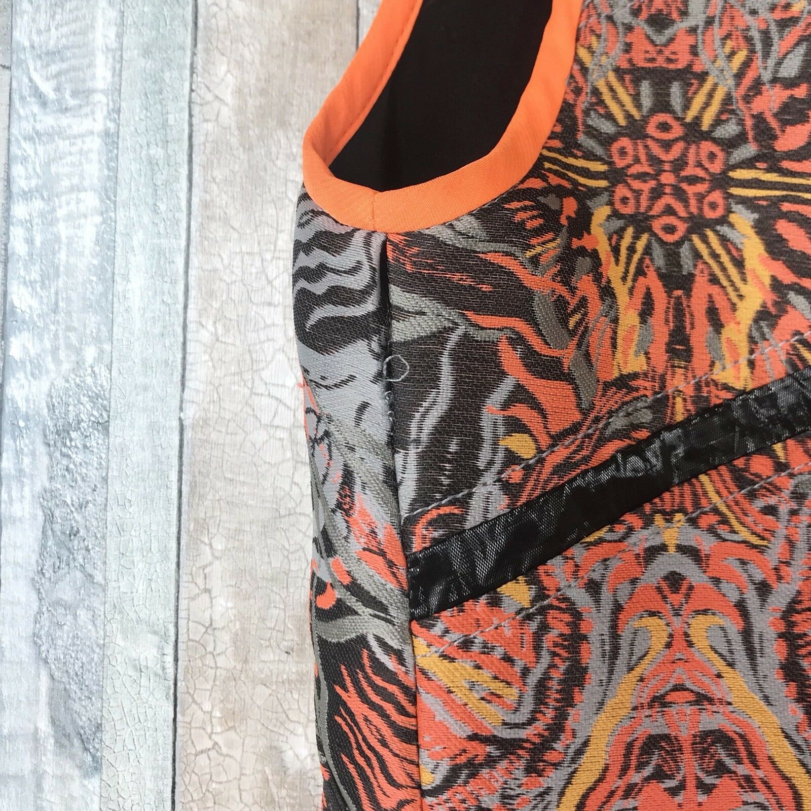 Helmut Helmut Helmut Lang 0 Asymmetric Neon orange Floral Medallion Jacquard Dress Runway  815 95c117