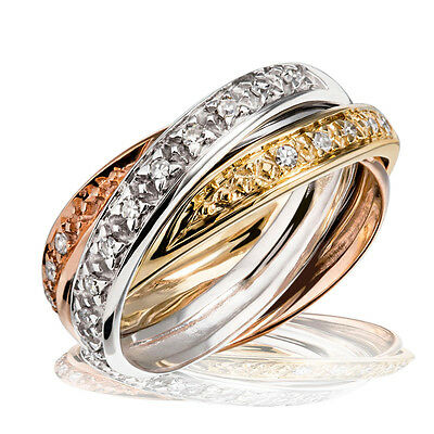 Goldmaid Ring 585 Gold Tricolor 3 in 1 Glamour  20 Diamanten 0,20 ct.