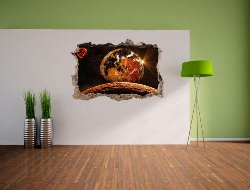 Planète rouge dans la galaxie 3d-Look percée mural autocollant-sticker