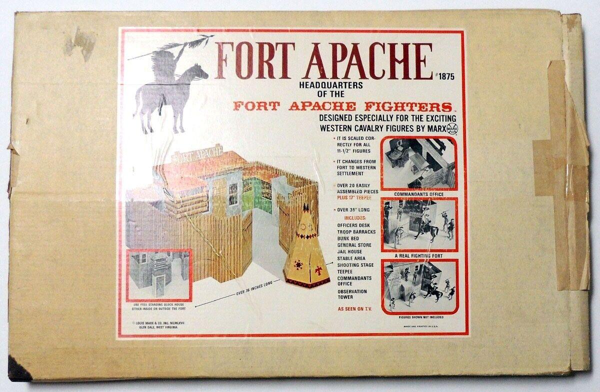 P9516. fuerte Apache lucha fuerte  Vintage  1875 con caja de Marx (1967) Raras