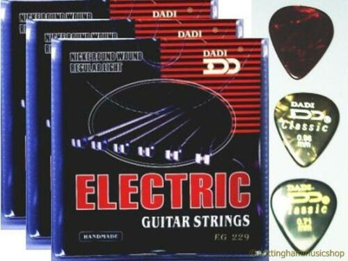 3 SETS ELECTRIC GUITAR STRINGS 3 FREE PICKS NEW CHEAP!