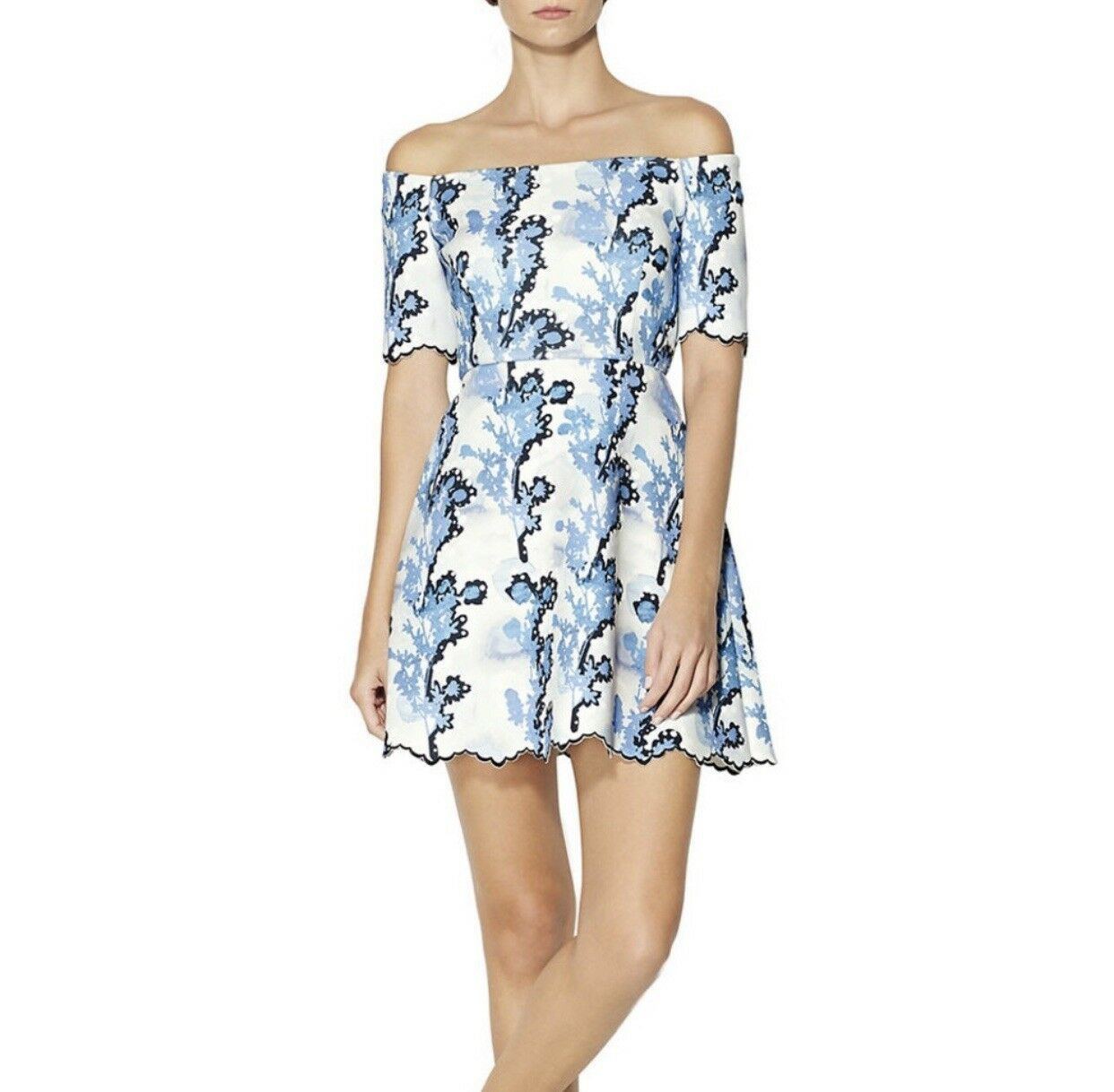 Cynthia Rowley Women's Off the Shoulder Dress Size 0 - bluee Floral