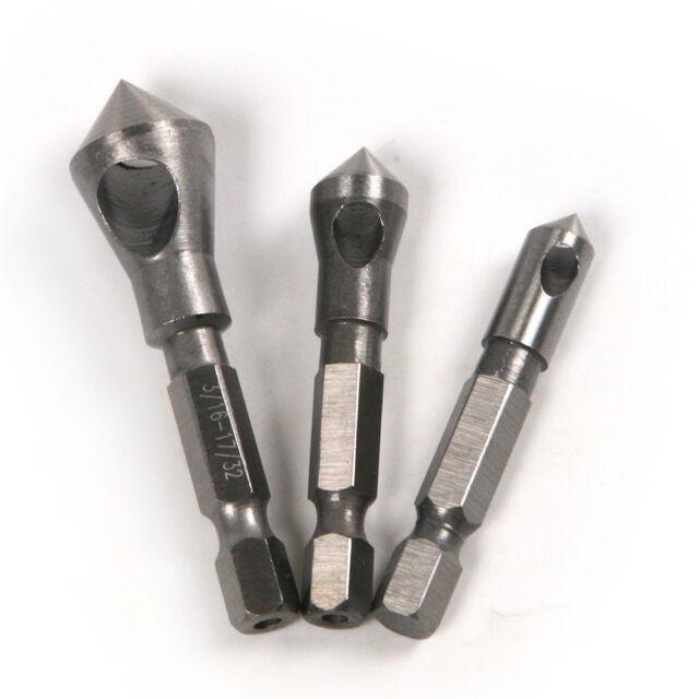 "1/4"" Hex Shank 90° Chamfer Deburring Countersink Reamer Cutter End Mill Drill"