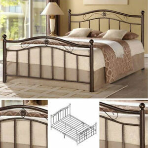 Queen Metal Bed Frame Bedroom Furniture Headboard Footboard Rails