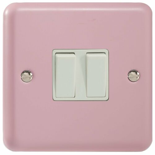1 or 2 Way Varilight Lily Range Rose Pink Light Switch Double 2 Gang Rocker
