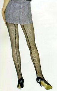 NEW-PinUp-Old-Hollywood-40-039-s-50-039-s-Back-Seam-Fishnet-Black-Pantyhose-Queen-XL-1x