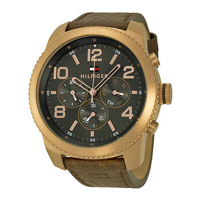 Tommy Hilfiger Grahm Multi-Function Brown Dial Brown Leather Mens Watch 1791109