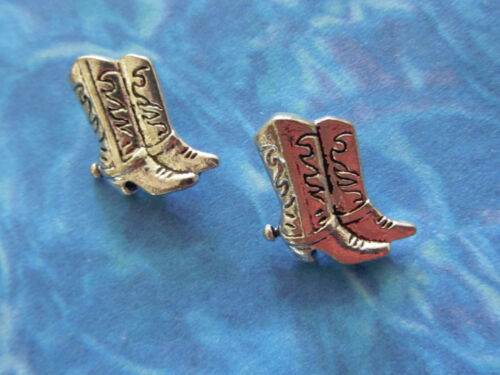 12 BEAUTIFULLY DETAILED SILVER COWBOY BOOTS shank BUTTON CHARMS free US ship