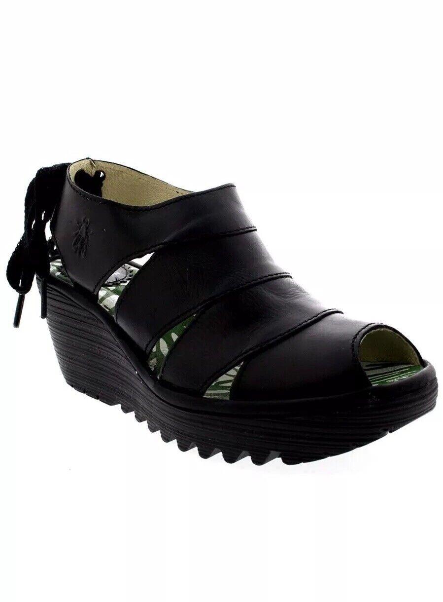 Fly London Yown Rug Leather Lace Up Peep Toe Wedge Heel Sandal  UK 3 EU 36