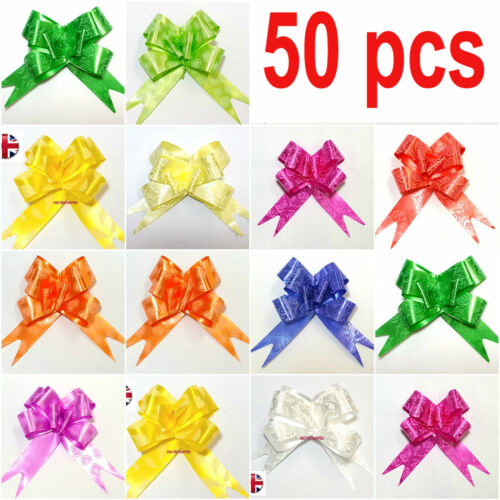 50 LARGE Ribbon Bows assorted colours easy pull flower ribbon party decoration