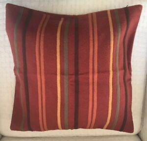 Crate-and-Barrel-Pillow-Cover-Rust-Striped-Felt-Wool-Home-Decor-18-Sq-Zip-Close