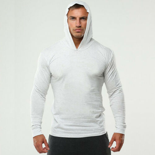 Mens Solid Cotton blend Hoodie Bodybuilding Muscle Pullover Sweatshirt Thin Tops