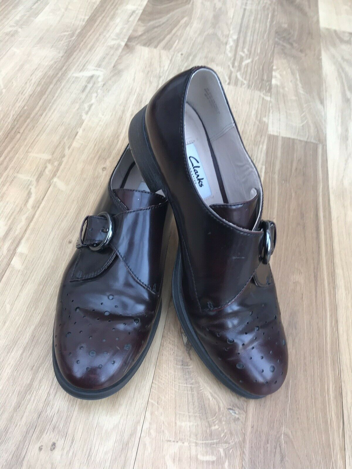 CLARKS NARRATIVE Buckle Brogues Oxblood Red Leather Flat shoes UK 4.5D
