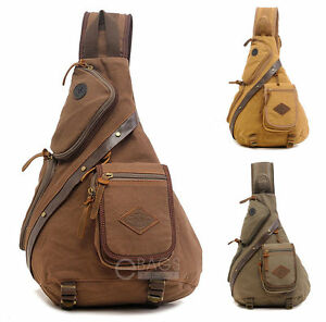 Canvas Motorcycle Bike Travel Camping Chest Shoulder Sling Bag ...