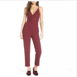 Leith-Spagetti-Strap-Jumpsuit -Wine Burgandy Size Large L