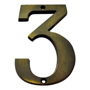 4 Inch Antique Brass #3 House Numbers Home Address Number Sign MP4-3-609