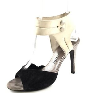bd372fff8 Image is loading Pedro-Garcia-Black-White-Leather-Ankle-Cuff-Sandals-