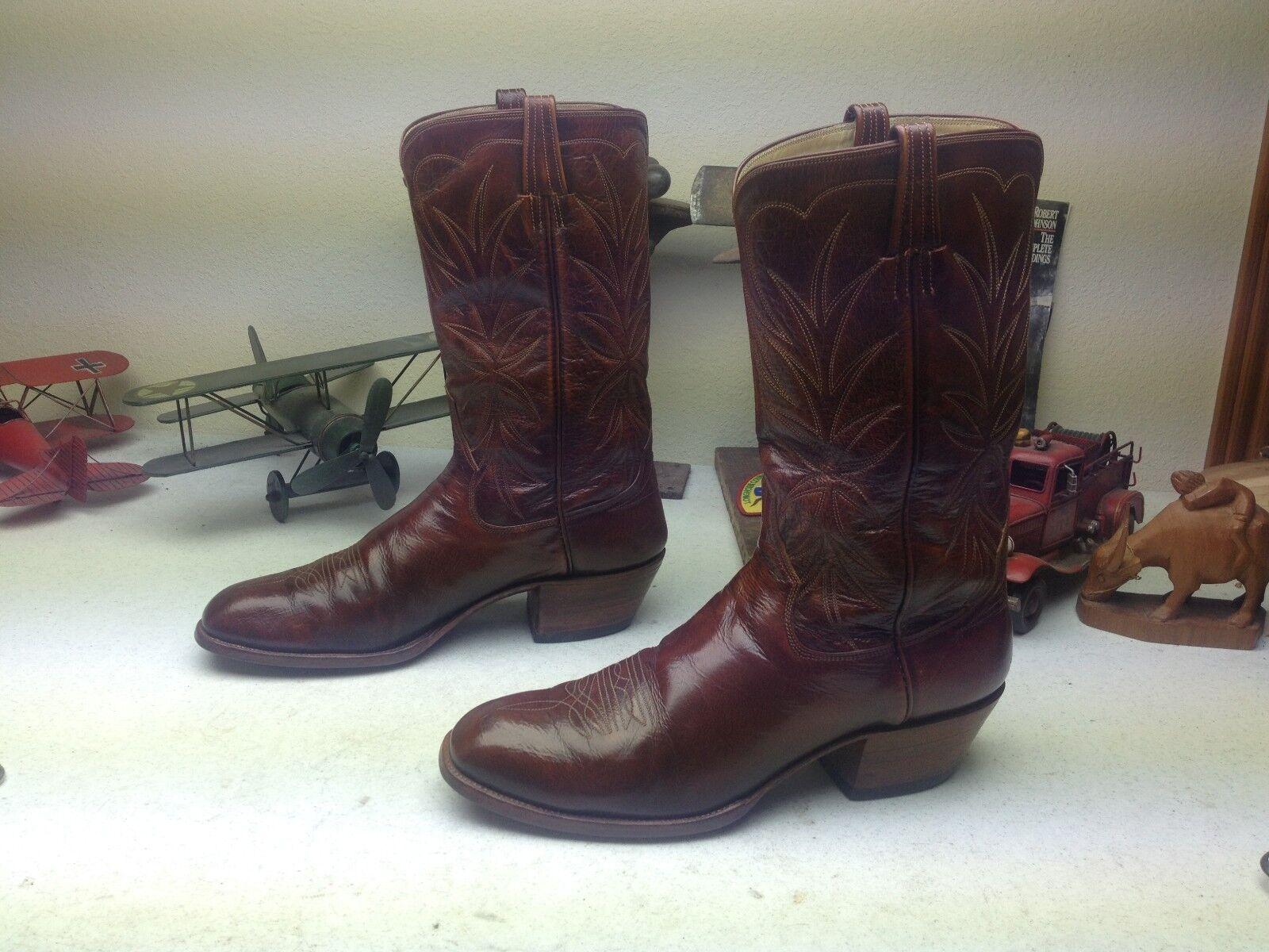 Bien hecho en EE. UU. marrón botas jefe Bill Blass Western Cowboy Ranch Rodeo 12 D