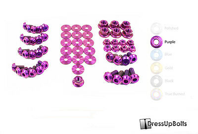 Dress Up Bolts for 08-15 Mitsubishi evo 10 X Purple Ti Titanium Engine Bay Kit