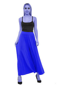 Ladies Crinkle Pleated Wide Legs Palazzo Culotte Summer Casual Trousers Pants