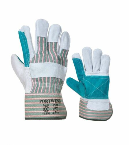 12 Pairs Portwest A230 Double Palm Rigger Gloves Green Grey