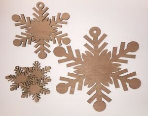 10x Wooden Plain Snowflake B Craft Shape 3mm Ply Christmas Decoration snow
