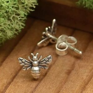 Tiny-Sterling-Silver-Bumblebee-Bumble-Honey-Bee-Studs-Stud-Post-Earrings-Gift
