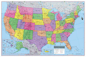 """USA United States Wall Map Poster 36""""Wx24""""H Rolled Paper, Laminated"""