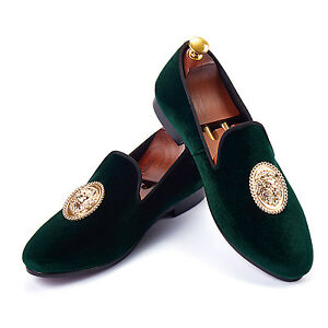 Harpelunde-Animal-Buckle-Men-Wedding-Shoes-Green-Velvet-Loafers-Size-6-14