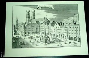 Muenchen-alte-Ansicht-Merian-Druck-Stich-1650-Markt-Staedteansicht-Panorama-Bayern