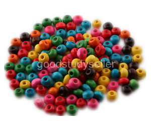 1000-pcs-Mixed-Color-Flat-Wood-Beads-spacers-charms-Jewelry-making-findings-6mm