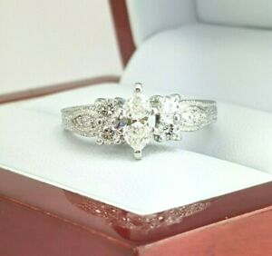 14k-White-Gold-1cttw-Marquise-Diamond-Vintage-Style-Engagement-Ring-D480