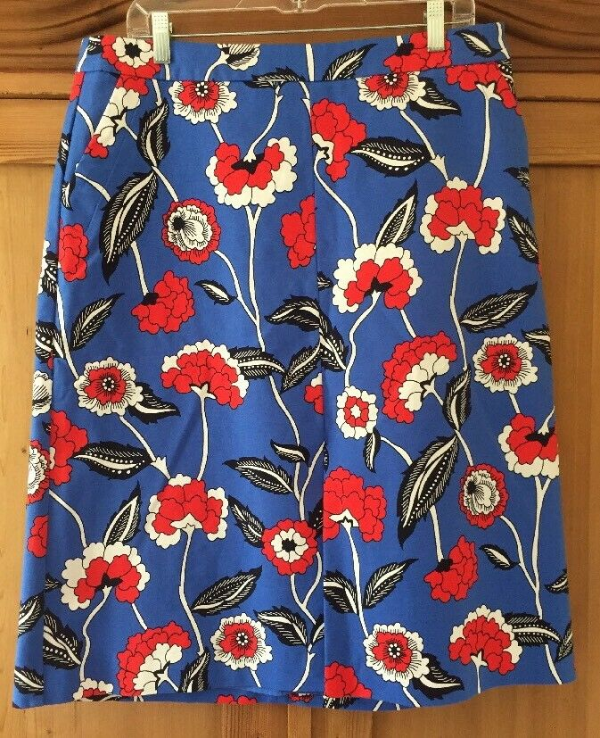 Boden Royal bluee & Red Floral Cotton Stretch Pencil Skirt Lined Ladies Size 12R