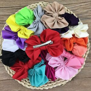 16pcs-4-034-big-satin-kids-hair-bows-With-Clip-for-baby-girls-hairbows-Accessories