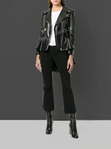 lederen Designer jas lamsvacht taille Peplum Black leren Biker Echt Cpdx17d