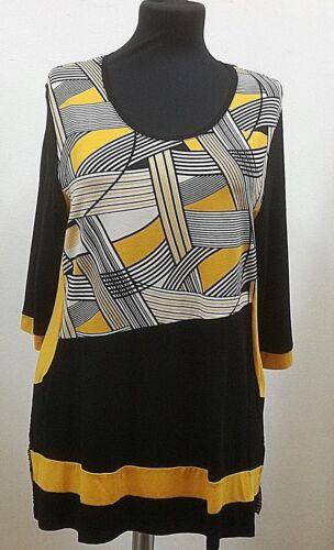 Lea H streckende Seiteneinsät Muster Rundhals by.Hegler filigr Shirt-Damen
