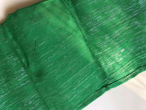 ONE PIECE ONLY NEW NIGERIA Aso Oke GELE GREEN WITH SILVER
