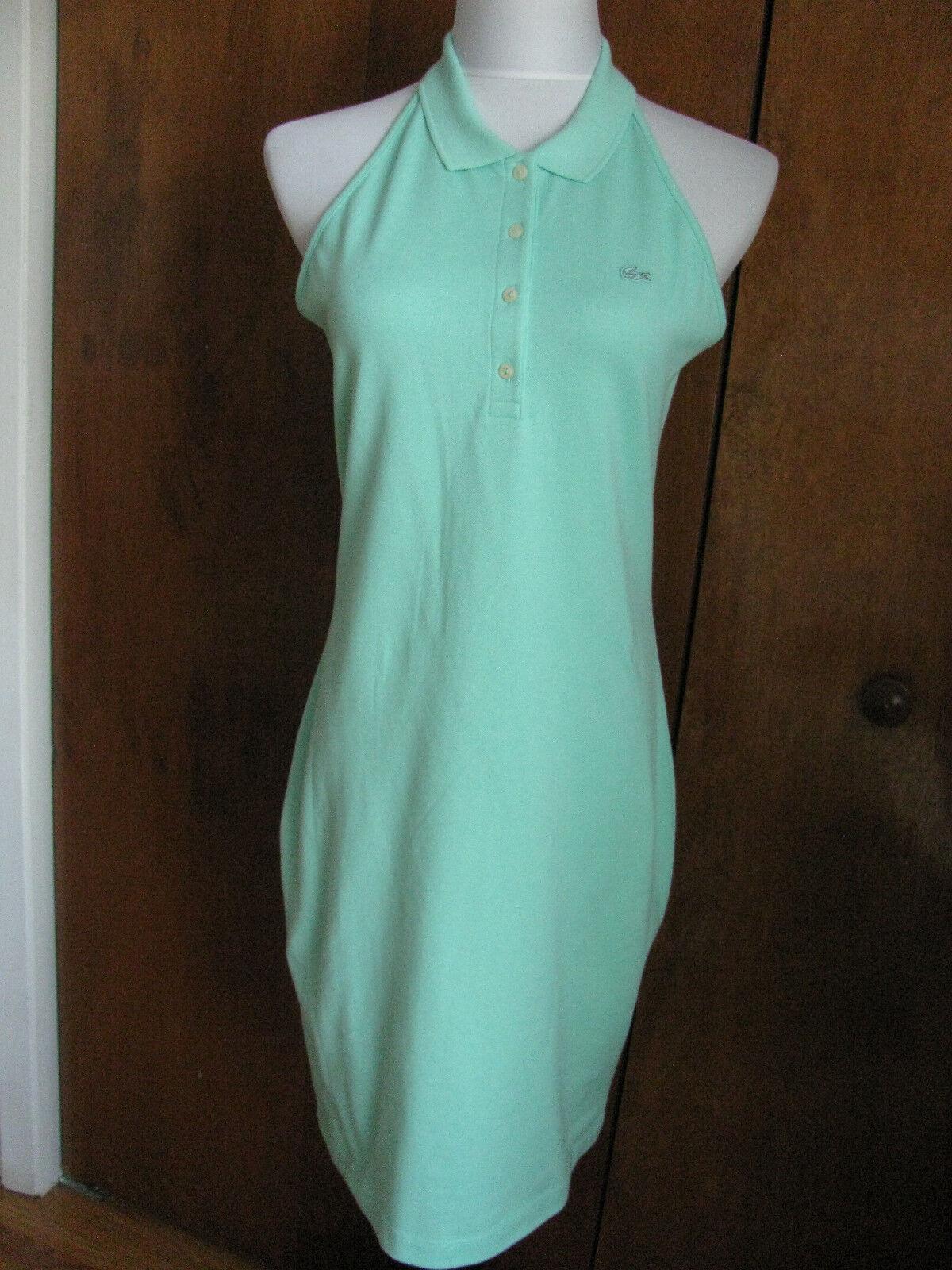 Lacoste women's green cotton halter dress size US2 Euro34 US10 Euro42 NWT
