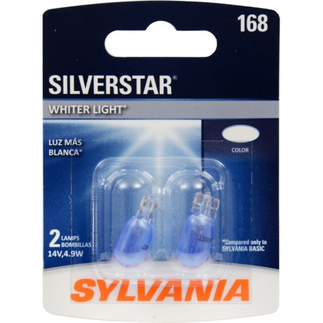 Sylvania Silverstar 168 4.9W Two Bulbs License Plate Light Replace OE Color Lamp