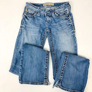 Big-Star-Sweet-Boot-Jeans-Women-039-s-25L-Ultra-Low-Rise-Blue-Denim-Skinny-75900