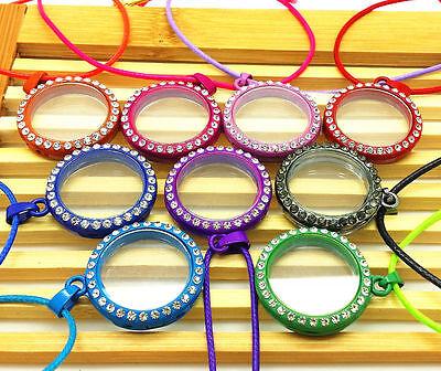 Living Memory Floating Locket Round Pendant Necklace DIY Floating Charm 9 Color