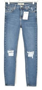 Topshop-SKINNY-JAMIE-High-Waisted-Blue-RIPPED-FRAYED-Jeans-Size-8-W26-L32