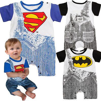 1PCS Kids Baby Boys Outfits Romper Suit Superman Batman Overalls Clothes 0-24M