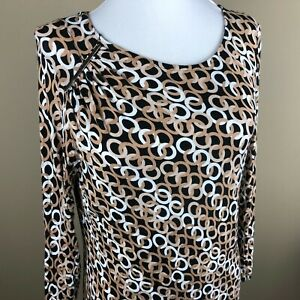 Dana Buchman Women's 3/4 Sleeve Top Blouse Size S Black Tan Interlocking Rings