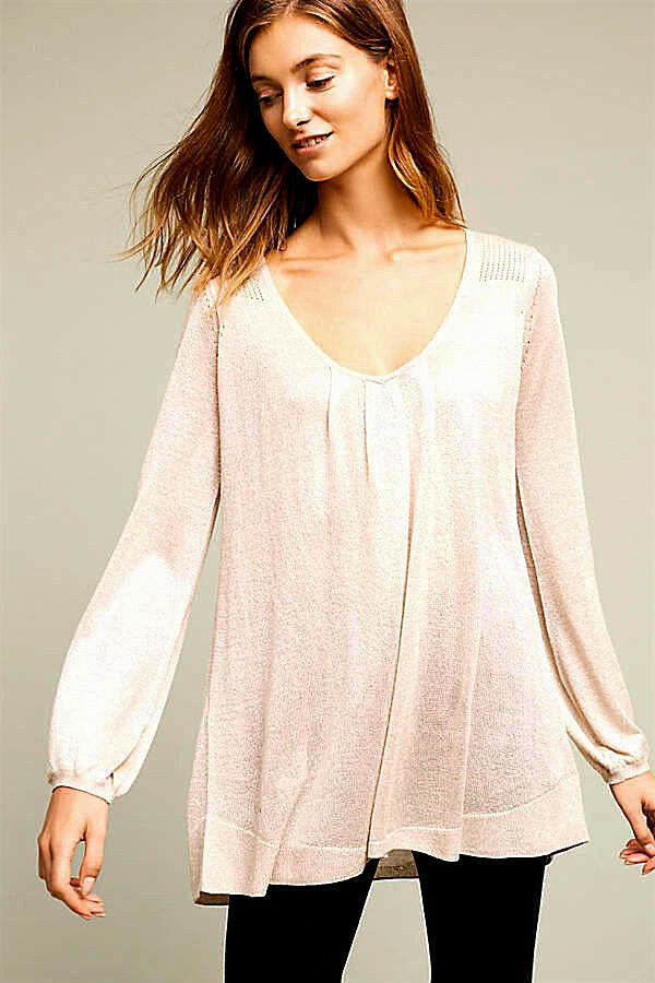 NEW NWT  ANTHROPOLOGIE IVORY LIGHT gold METALLIC TUNIC TOP SWEATER VERY RARE