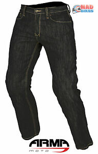 ARMR-Mens-Aramid-Reinforced-Denim-Motorcycle-Trousers-Jeans-Ce-Armour-Black
