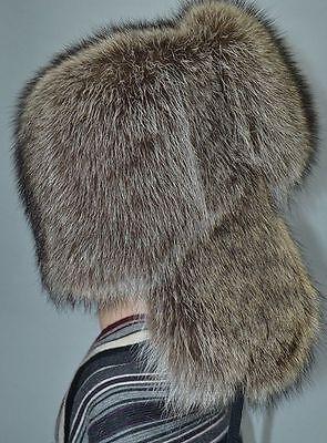 Silver Fox Natural Real Fur Hat Chapka Shapka Ushanka Men XS,S,M,L,XL,XXL